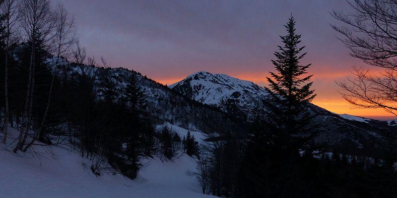 paysage lors de la balade nocturne en raquette